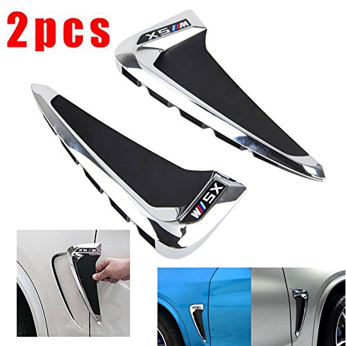 2PCS Black Side Body Marker Fender Air wing Vent Trim M Cover Fit For BMW X5 F15