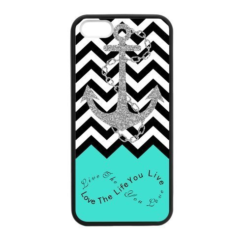 Live the Life You Love, Love the Life You Live. Turquoise Black White Chevron with Anchor luxury cover case for Iphone 6 Plus(Black)ALL MY DREAMS Avai Unique diy case - Perfume Samples Chanel