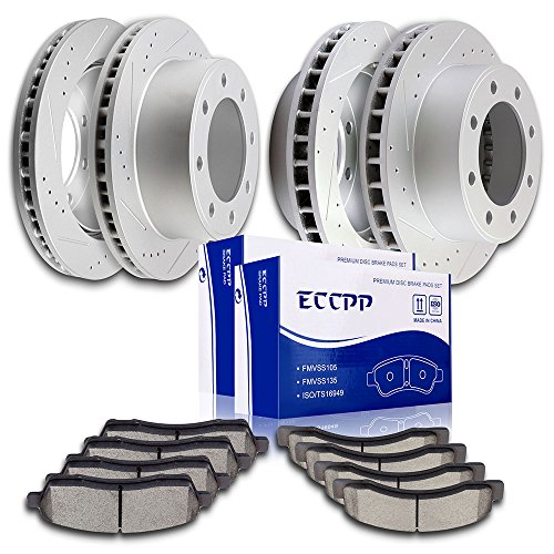 Brake Rotors Pads Kits,ECCPP Front Rear Brake Discs Rotors and Ceramic Disc Brake Pads for 2000 2001 2002 2003 2004 2005 Ford Excursion 2000 2001 2002 2003 2004 Ford F-250 F-350 Super Duty
