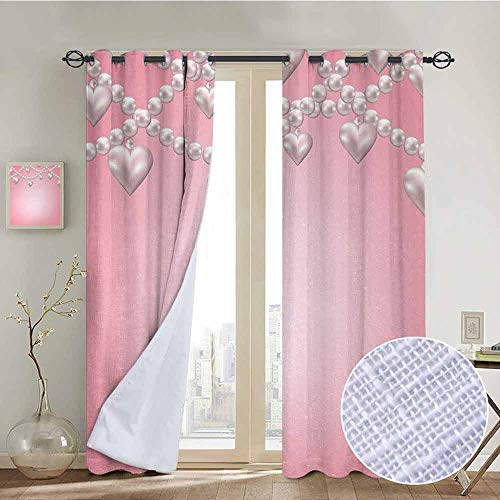 NUOMANAN Blackout Curtains for Bedroom Pearls,Heart Pearl Necklace Design Vintage Accessory Love Valentines Celebrating Artwork,Beige Pink,Darkening Grommet Window Curtain-1 Pair 120