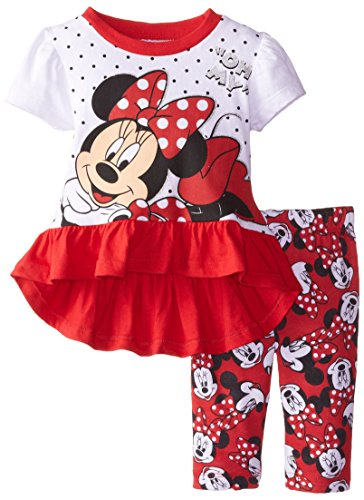 Disney Baby-Girls Infant Minnie Mouse Legging Set, Red, 18 Months