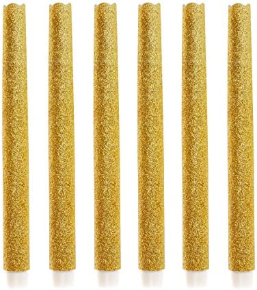 9 Set of 6 Flameless Led Taper Candles with Timer, Battery Operated Candle with Gold Glitter for Wedding, Halloween, Christmas Decoration