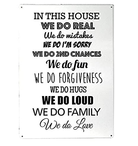Family Quote | Artylicious In This House We Do Real Family Quote A4 Metal Sign