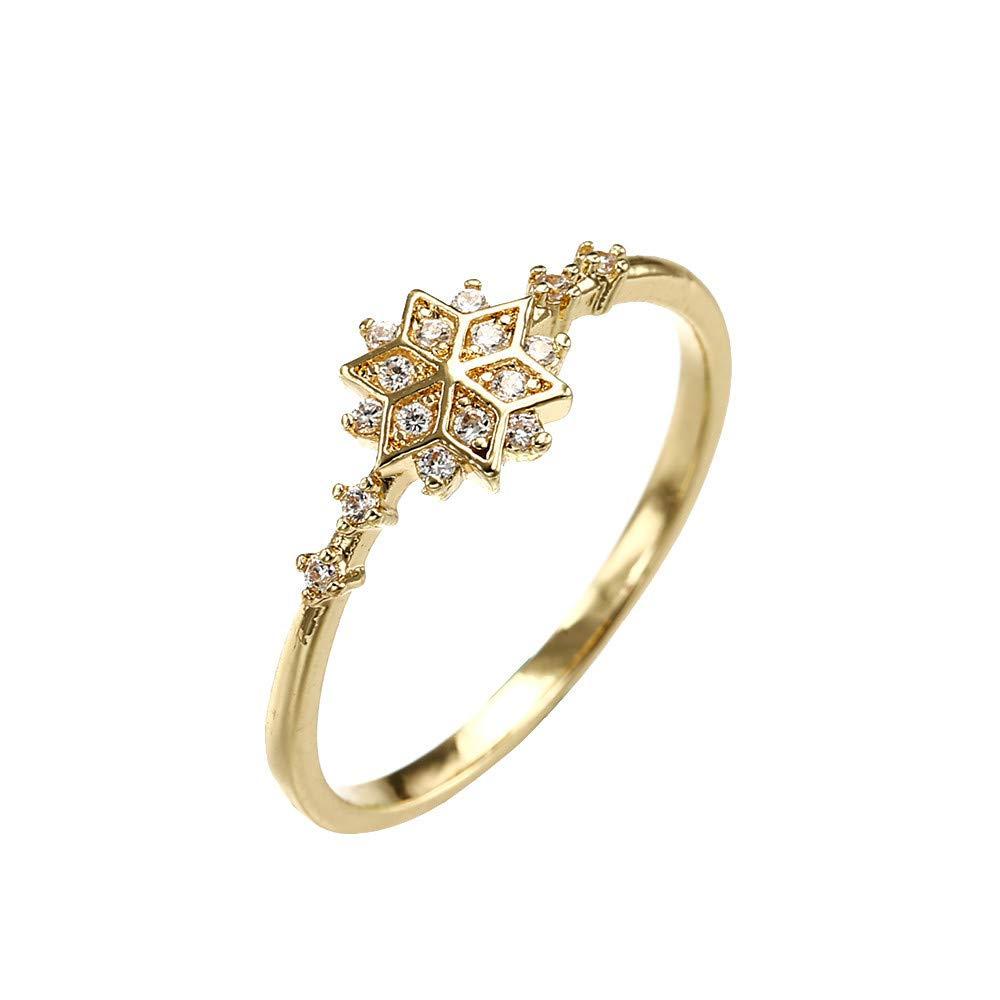 Women Rings, WoCoo Retro Diamond-Snowflake Girls Ring (Gold,Size 6)