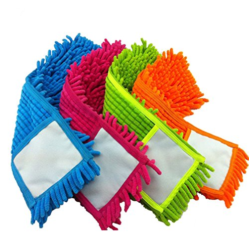 - 4 Pc Microfiber Cleaning Mop Pad Refill Replacement Head Pads for Flat Removable Dust Floor Mops (155 Inch )