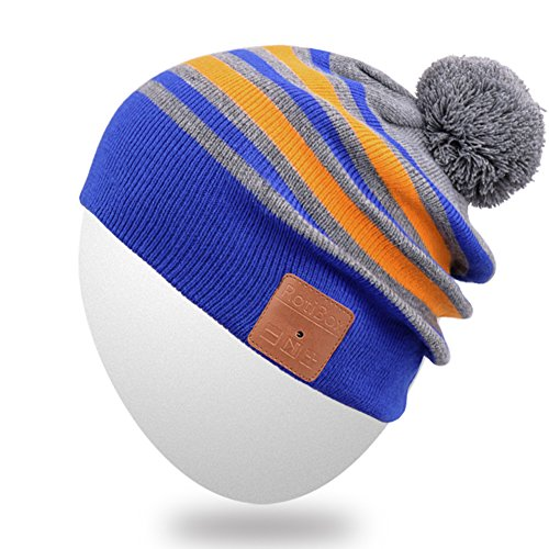 9a1f35d3eb7 Rotibox Wireless Bluetooth Beanie Hat Cap Striped Pom Pom with Headphones  Headsets Earphones Speaker Hands-free Call for Gym Outdoor Sports Skiing  Running ...