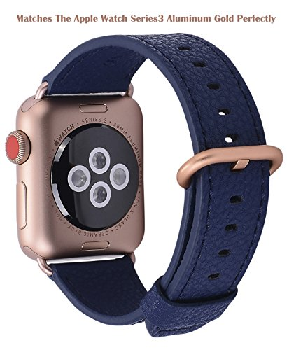 (PEAK ZHANG Compatible Iwatch Band 42mm 44mm M/L Women Men Genuine Leather Replacement Strap Compatible iWatch Series 3 Gold/Series 4 Gold Aluminium,Midnight Blue)