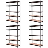 4Pcs 72'' Heavy Duty 5 Level Adjustable Steel Garage Storage Rack Shelves