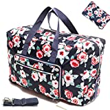 Large Travel Duffel Bag Foldable Large Travel Bag Weekend Bag Checked Bag Luggage Tote 18 Style 21.6IN x 9.8IN x 13.7IN (A flower rose)