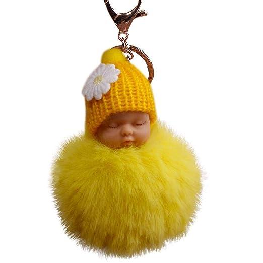 Bobopai 8cm Pompom Cute Fur Fluffy Sleeping Baby Doll Key ...