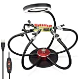 Flexible Soldering Helping Hands 360°Rotary Third Pana Hand Station, Daylight 42 LED 3X Magnifying Lamp USB plug-type with 3 Adjustable Light Settings, 6 Arms,Swiveling Clips and Coated Steel Base