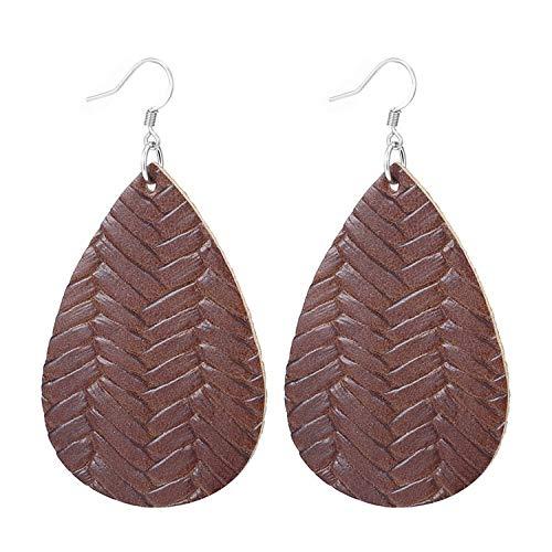 - New Teardrop Leather Earrings Petal Drop Earrings Antique Lightweight S925 Carved Stainless Steel Earrings For Women Gifts,Light Color