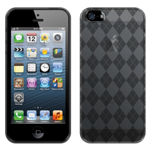 Apple iPhone 5 - Smoke Checker Argyle TPU Jelly Flex Case Cover -