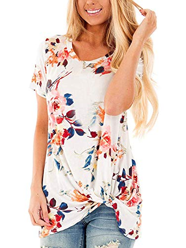 TEMOFON Casual Summer Loose Women's Tops Short Sleeve Fashion Twist Knotted Blouses Tunic T Shirt Floral White S