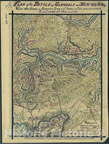 Historic 1862 Map | Plan of The Battle of Glendale and White Oak Swamp, Virginia, Also Known as Frazier's Farm and Charles City Crossroads, Fought June 30th, 1862, 10 a.m. to 5 p.m. 34in x 44in