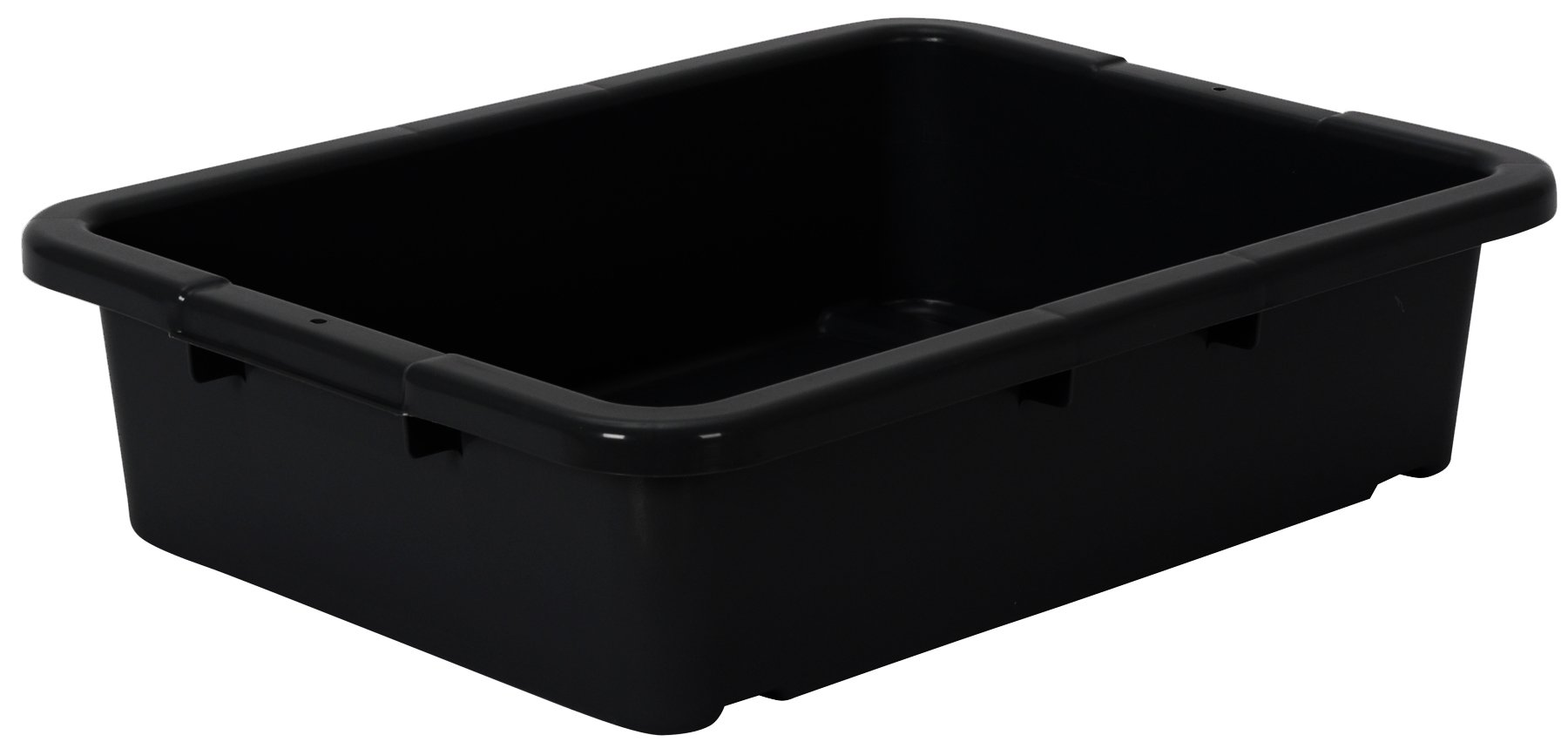 Continental 1525BK-BP, Heavy-Duty Bus Tub and Lid, Bulk Packed, 5'' Depth, Black (Case of 210)