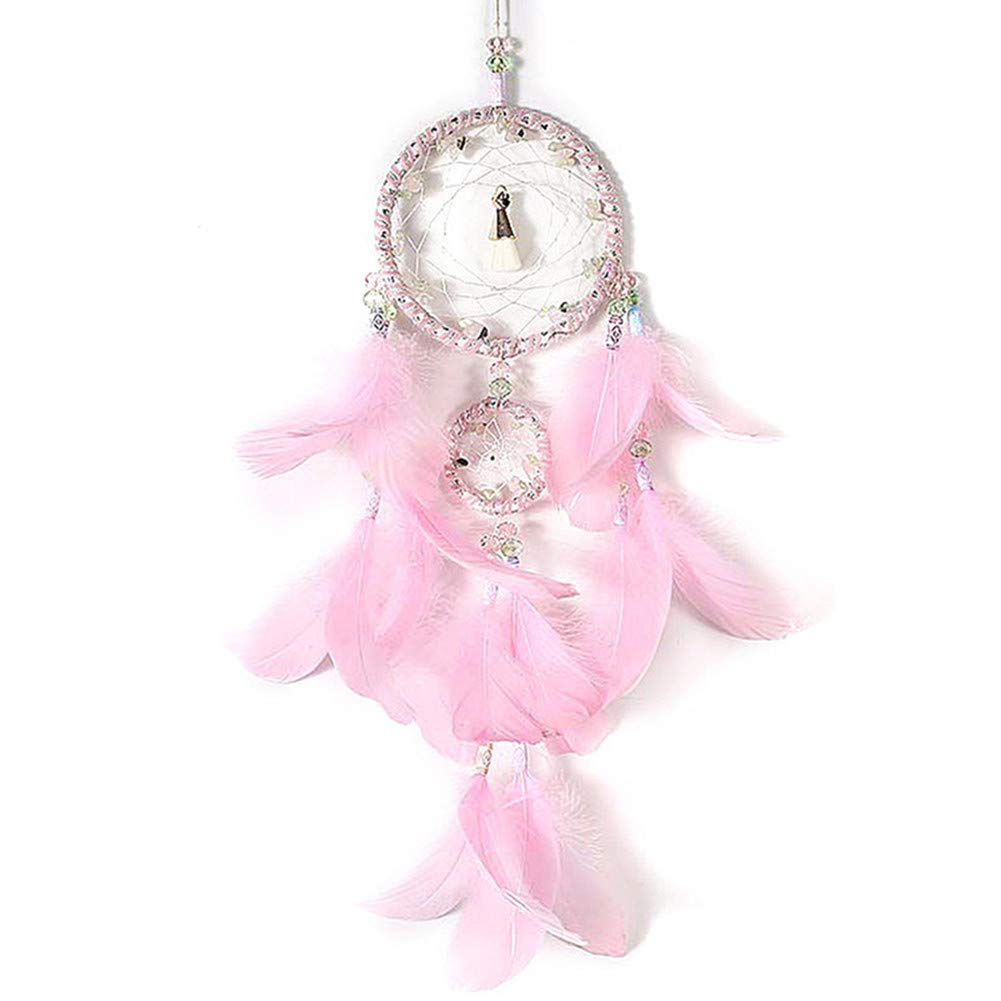 Dremisland Dreamcatcher GIF t Handmade Dream Catcher Net with Feathers Wall Hanging Decoration Ornament (Pink Dream)