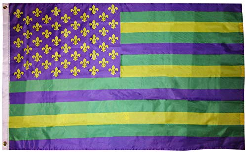 American Wholesale Superstore 3x5 USA Mardi Gras Green Gold Purple Fleur De Lis 3'x5' Premium Quality Heavy Duty Polyester Indoor Outdoor Flag -