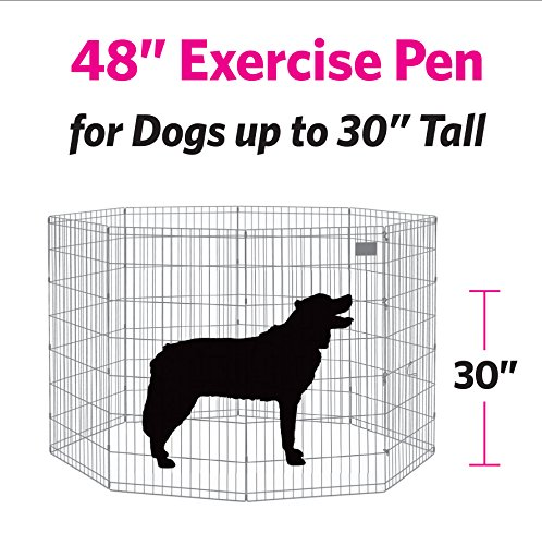 Midwest foldable metal exercise pen pet playpen black w for Dog exercise pen with door