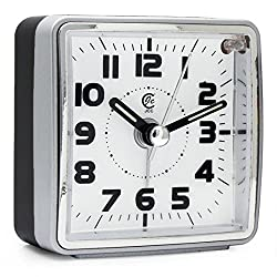 JCC Ultra Small Portable Pocket Size Non Ticking Analog Quartz Travel Alarm Clock with Ascending Sound Alarm, Snooze and Night Light Function - Battery Operated (Silver - Square Dial)