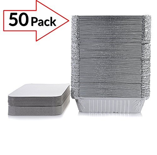 Take-out Pans | Take away Pans - Disposable Aluminum pans Take-out Containers with Lids, Standard Size (Pack of 50) | Disposable Aluminum trays. (Burners Vented Grill)