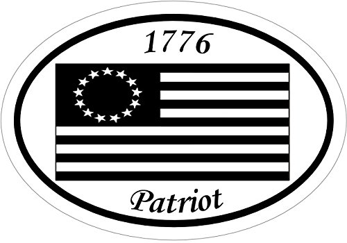 WickedGoodz Oval Vinyl 1776 Patriot Colonial American Flag Decal Patriotic Bumper Sticker