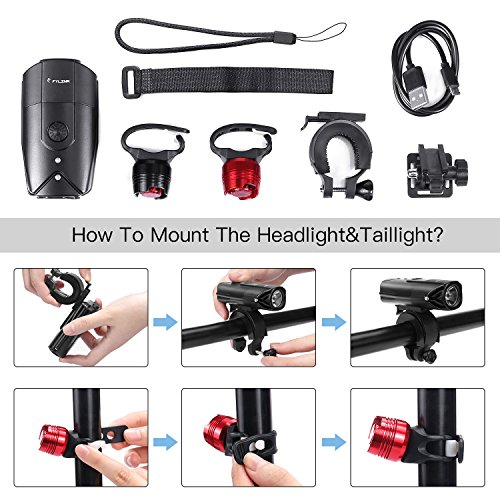 FYLINA Bike Light Kit Front and Back, Bicycle Headlight Rechargeable with Two Tail Light Powerful Lumens Bicycle Led Light Set Waterproof Fits with Mountain Bike, Road Bike for Safety by FYLINA (Image #5)