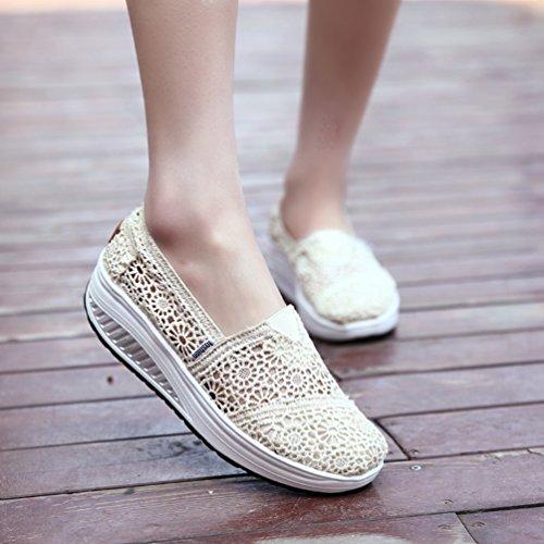40 Chaussures de Femmes Sandales Sport Walking Sneakers Antidérapantes JRenok Respirant de Beige Chaussures 35 Confort Filet Lace ZSKPPyq14f