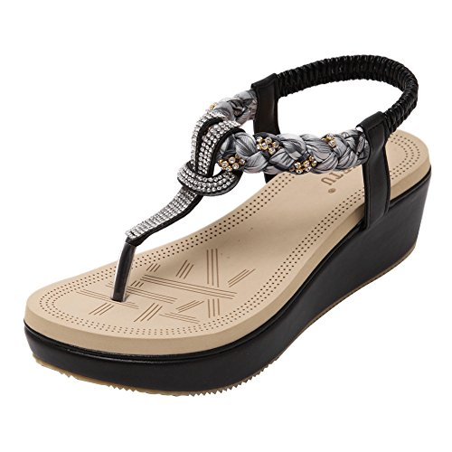 Wedge Thongs Heel Sandals Leather (Zicac Women's Bohemian Platform Sandals Rhinestone Bead Wedge Shoes Thong Sandal (8,Black))