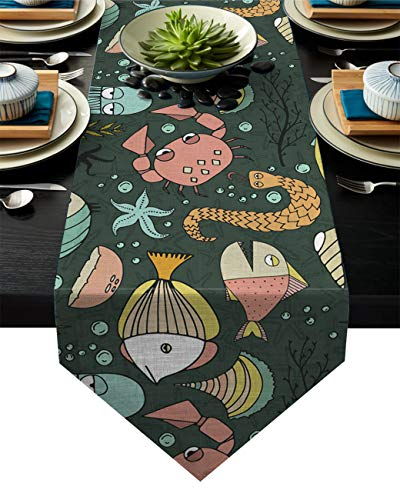 Linen Burlap Table Runner Dresser Scarves, Marine Life Fish Kitchen Table Runners for Dinner Holiday Parties, Wedding, Events, Decor - 13 x 90 Inch