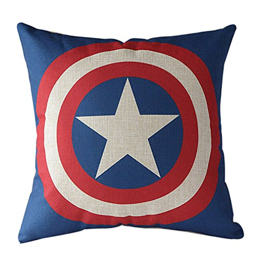 VIPbuy Comic Superhero Cotton Linen Decorative Square Throw Pillow Case Sofa Waist Cushion Cover 18 x18 inches (Captain -