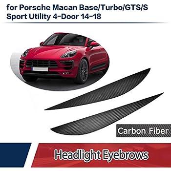 Jcsportline Dry Carbon Fiber Front Head Lamps Cover Eyelid Light Eyebrows fits Porsche Macan Sedan 4-Door 2014-2018
