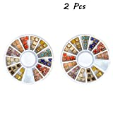 EYX Formula Pack of 2 Wheels Nail Art Kit Set DIY 3D Acrylic Nail Sticker Design ,Colorful Edging Flat Square Round Peal Decoration Manicure Nail Art Tip Wheel at Home or Profession.