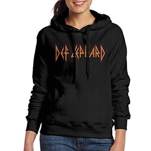FUOCGH Women's Pullover Def Leppard Hooded Sweatshirt Black L