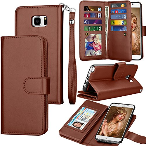 Tekcoo Compatible for Galaxy Note 5 Wallet Case/Samsung Galaxy Note 5 PU Leather Case, Luxury Cash Credit Card Slots Holder Carrying Flip Cover [Detachable Magnetic Hard Case] & Kickstand -Brown