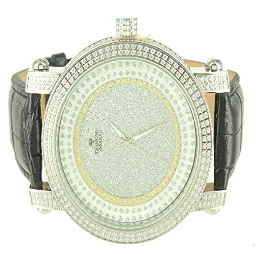 Two Row Diamond Watch (Diamond Max Brilliant 14k White Gold Finish 2 Row Bezel Watch Men Custom Techno)