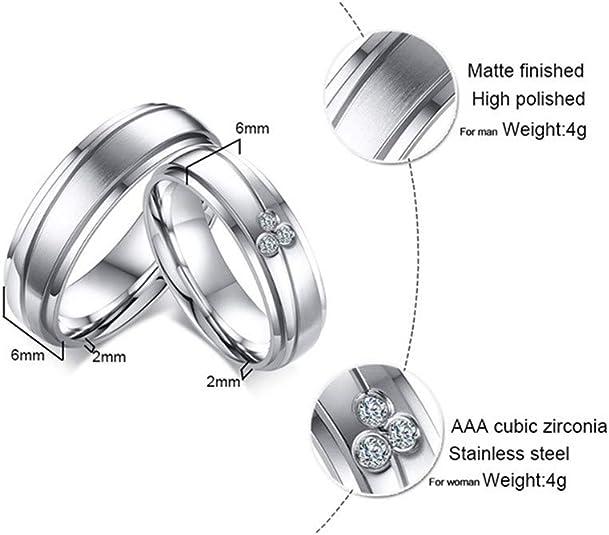 Or 8 mm//Argent//Or Rose Titane Acier Double Rangée Zircone cubique Bague Mariage Band SZ 5-10