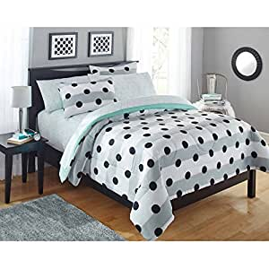 Mainstays kids black and white polka dots bedding twin girls comforter set 5 piece - Spots of color in the bedroom linens and throws ...