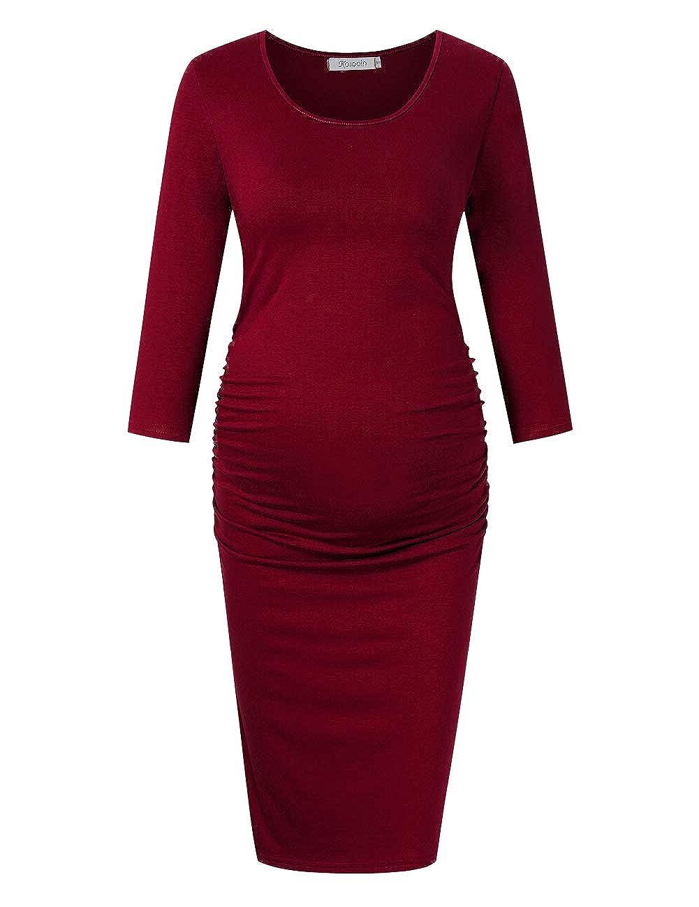 KOJOOIN Damen Umstandskleid Schwangerschafts Kleid Umstandsmode Elegantes Kleid f/ür Schwangere Lange /Ärmel Knielang(Verpackung MEHRWEG)