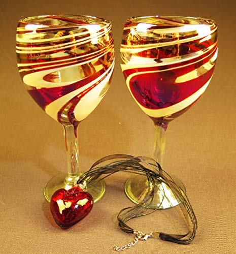 (Red glass Heart with Wine glasses Red White Swirl)