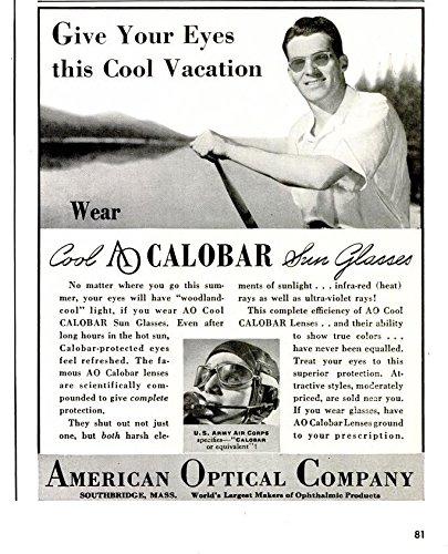 ORIGINAL *PRINT AD* 1940 AMERICAN OPTICAL AO COOL CALOBAR SUN GLASSES