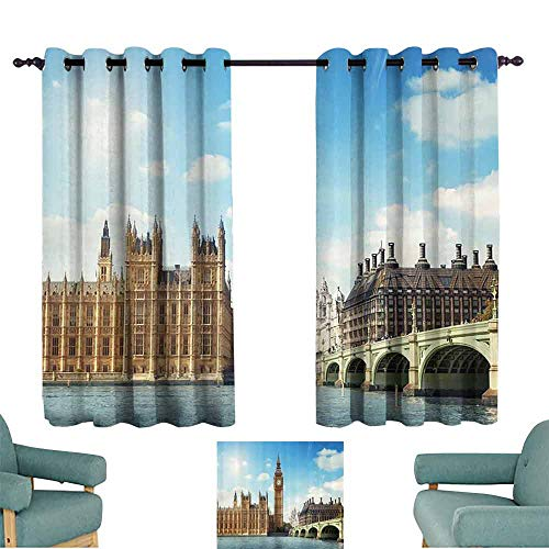DILITECK Customized Curtains London Decor Collection Scenery of Iconic Big Ben Westminster Bridge Thames River and Houses of Parliament Light Blocking Drapes with Liner W55 xL45 Blue Ivory