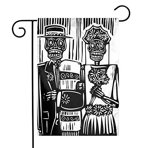Mannwarehouse Day of The Dead Garden Flag Woodcut Style Skeleton Couple Wedding in Cemetery Image with Bride Groom Premium Material W12 x L18 Black White