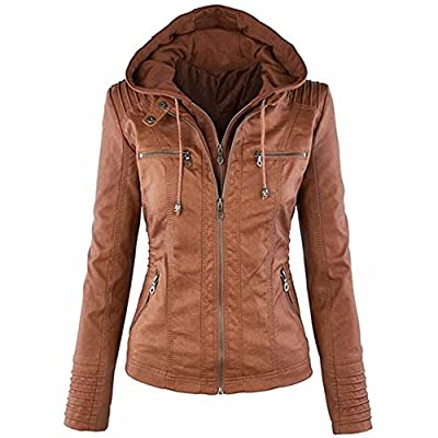 Sexyshine Women's Zipper Up Removable Hooded Faux Leather Jacket Biker Bomber Classic Vintage Jackets Coat