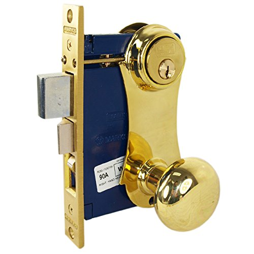 Marks 21AC RHR Double Cylinder Iron Gate Ornamental Knob Plate Mortise Lock Set with 2-1/2