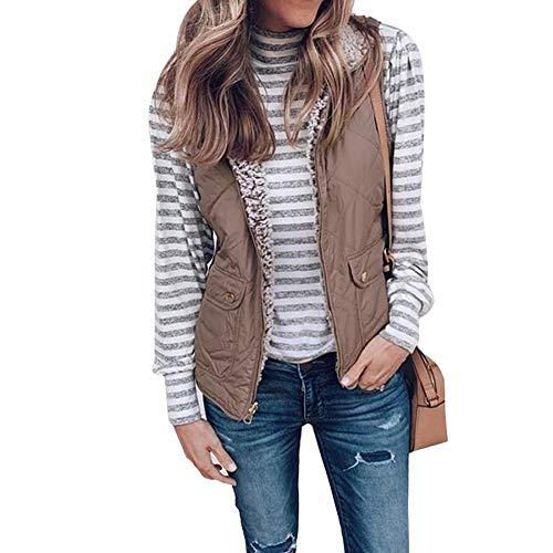 GETUPP Women Sherpa Fleece Quilted Vest Outwear Lightweight Sleeveless Zip Up Reversible Jacket with Pockets
