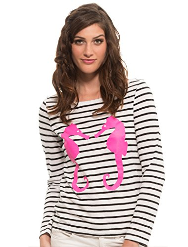 Macbeth Collection Long Sleeve Stripe Sweater Sea Horse Top-Black White-M
