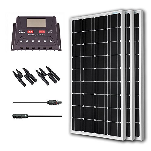 Renogy 300 Watt 12 Volt Monocrystalline Solar Bundle Kit with 30A PWM Controller - LCD Display by Renogy