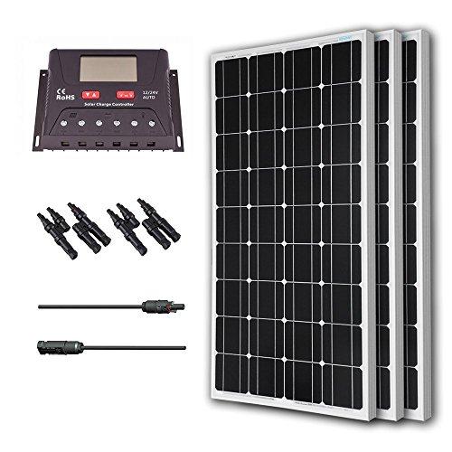 Renogy 300 Watt 12 Volt Monocrystalline Solar Bundle Kit with 30A PWM Controller - LCD Display by Renogy