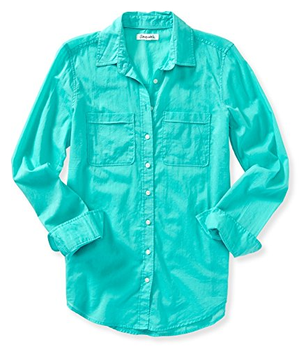 Aeropostale Womens Solid Button Down Blouse, Green, ()
